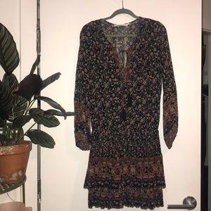 Boho drop waist print dress